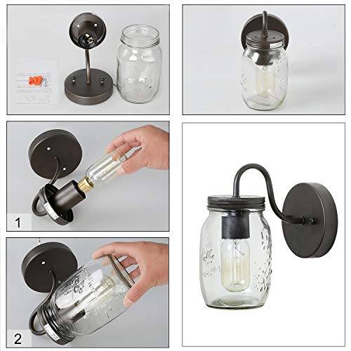 LNC Wall SconceFarmhouse Glass Mason Jar Lights A02979 Brown 0 3