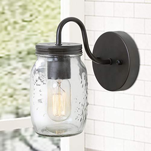 LNC Wall SconceFarmhouse Glass Mason Jar Lights A02979 Brown 0