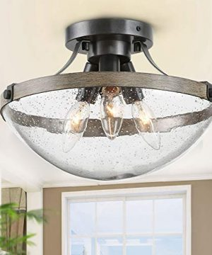 LOG BARN Farmhouse Semi Flush Mount Ceiling Light With Seeded Glass Close To Ceiling Light Fixture For Entryway Dining Room Hallway 11 12 Wide 3 Light 0 300x360