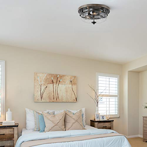Flush Mount Ceiling Light Farmhouse Light Fixtures Ceiling With Faux Wood Finish And Seeded Glass Cover W13 5 X H6 5 Farmhouse Goals