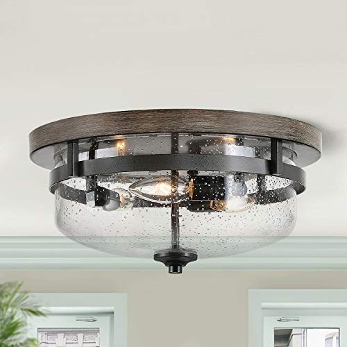 Log Barn Flush Mount Ceiling Light