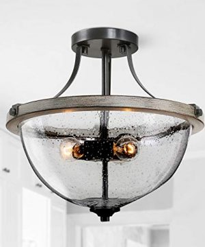 LOG BARN Semi Flush Mount Ceiling Light Seeded Glass Farmhouse Ceiling Light Fixture For Kitchen Hallway Bedroom Living Room Laundry Room 0 300x360