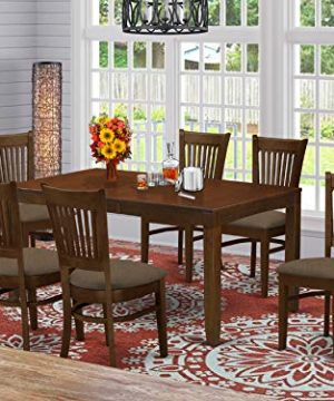 LYVA7 ESP C 7 Pc Dining Table With A 12 Leaf And 6 Linen Cushion Kitchen Chairs 0 300x360