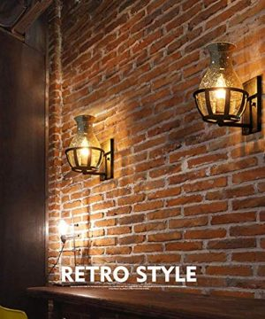 Ladiqi Vintage Country Style Candle Design Wall Sconce Lighting Wall Lamp Light Fixture With Unique Seedy Glass Shade Indoor Outdoor 0 0 300x360