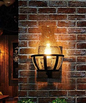 Ladiqi Vintage Country Style Candle Design Wall Sconce Lighting Wall Lamp Light Fixture With Unique Seedy Glass Shade Indoor Outdoor 0 1 300x360