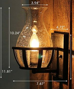 Ladiqi Vintage Country Style Candle Design Wall Sconce Lighting Wall Lamp Light Fixture With Unique Seedy Glass Shade Indoor Outdoor 0 2 300x360