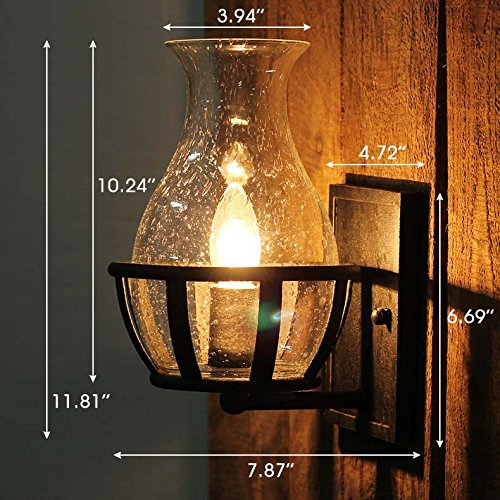 Ladiqi Vintage Country Style Candle Design Wall Sconce Lighting Wall Lamp Light Fixture With Unique Seedy Glass Shade Indoor Outdoor 0 2