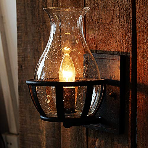 Ladiqi Vintage Country Style Candle Design Wall Sconce Lighting Wall Lamp Light Fixture With Unique Seedy Glass Shade Indoor Outdoor 0