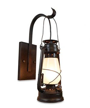 Lantern Wall Sconce Large Frosted Hurricane Glass Brown 0 300x360