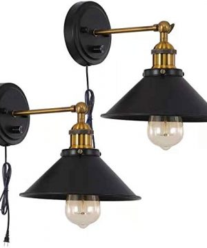 Larkar Dimmable Plug In Wall Sconce 2 Pack UL Black Hardwired Industrial Vintage Wall Lamp Fixture Simplicity Arm Swing Wall Lights 0 300x360