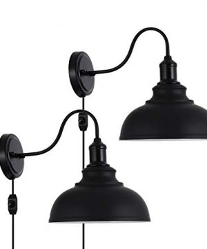 Larkar Dimmable Vintage Wall Lamp Black Industrial Vintage Farmhouse Wall Sconce Lighting Gooseneck Wall Light Fixture With Plug In Cord And On Off Toggle Switch For Bedroom Nightstand Set Of 2 0 300x360