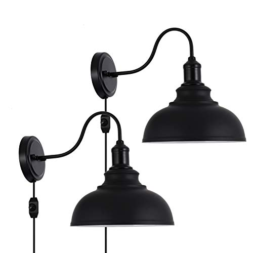 Larkar Dimmable Vintage Wall Lamp Black Industrial Vintage Farmhouse Wall Sconce Lighting Gooseneck Wall Light Fixture Farmhouse Goals