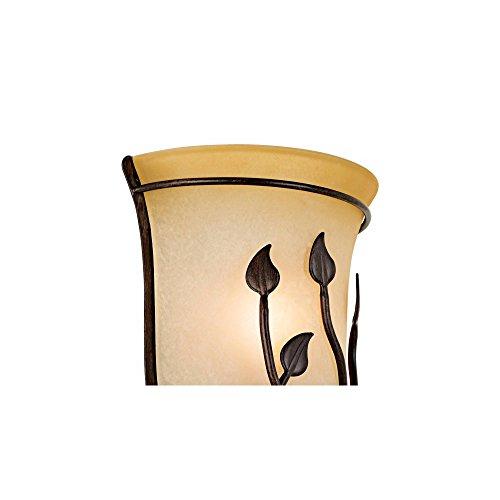 Leaf And Vine Farmhouse Wall Light Sconce Pocket Bronze Hardwired 10 12 High Fixture Amber Rimmed Glass For Bedroom Bathroom Hallway Regency Hill 0 2