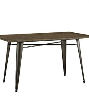 LexMod MO EEI 2034 BRN Alacrity Rustic Modern Farmhouse Wood Rectangle With Steel Legs 59 Brown 0 300x360