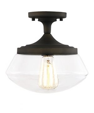 Light Society Crenshaw Flush Mount Ceiling Light Oil Rubbed Bronze With Clear Glass Shade Vintage Industrial Modern Lighting Fixture LS C246 ORB 0 300x360