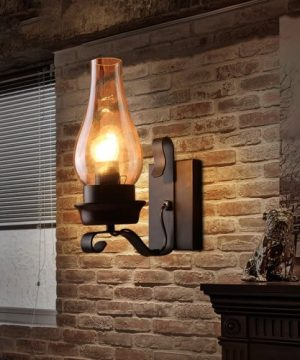 LightInTheBox Retro Rustic Nordic Glass Wall Lamp Bedroom Bedside Wall Sconce Vintage Industrial Wall Light Fixtures 0 300x360