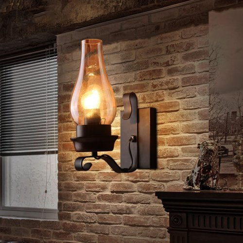 Lightinthebox Retro Rustic Nordic Glass Wall Lamp Bedroom Bedside Wall Sconce Vintage Industrial Wall Light Fixtures Farmhouse Goals