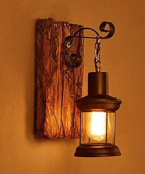 LightInTheBox Single Head Industrial Vintage Retro Wooden Metal Painting Color Wall Lamp For The Home Hotel Corridor Decorate Wall Light 110V 0 300x360