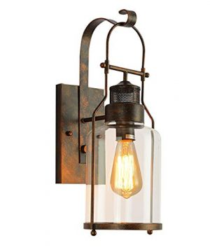 Lightess Clear Glass Sconces Retro Farmhouse Wall Lights Antique Rust Wall Lamp For Barn Kitchen Bedroom DYS570 0 300x360