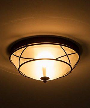 Loclgpm 2 Light Glass Black Finish Semi Flush Mount Ceiling Light Vintage Ceiling Fixture For Bedroom Hallway Kitchen Bar 0 1 300x360