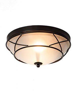 Loclgpm 2 Light Glass Black Finish Semi Flush Mount Ceiling Light Vintage Ceiling Fixture For Bedroom Hallway Kitchen Bar 0 300x360