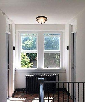 Loclgpm 2 Light Glass Black Finish Semi Flush Mount Ceiling Light Vintage Ceiling Fixture For Bedroom Hallway Kitchen Bar 0 4 300x360
