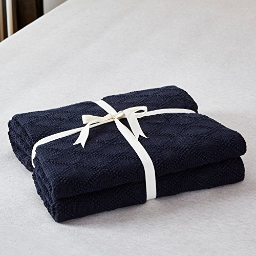 Longhui Bedding Navy Blue Cotton Knit Throw Blanket For Couch Sofa Bed Home Decorative Soft Cozy Sweater Woven Fall Cable Oversize Knitted Blankets 34 Pounds 60 X 80 Inch 0 0