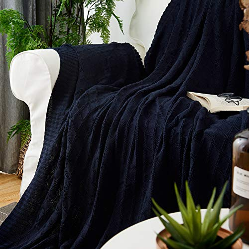 Longhui Bedding Navy Blue Cotton Knit Throw Blanket For Couch Sofa Bed Home Decorative Soft Cozy Sweater Woven Fall Cable Oversize Knitted Blankets 34 Pounds 60 X 80 Inch 0 1