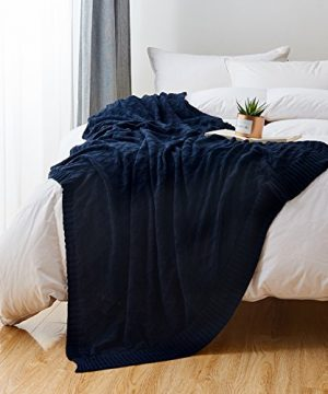 Longhui Bedding Navy Blue Cotton Knit Throw Blanket For Couch Sofa Bed Home Decorative Soft Cozy Sweater Woven Fall Cable Oversize Knitted Blankets 34 Pounds 60 X 80 Inch 0 4 300x360