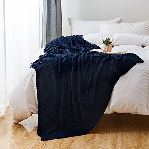 Longhui Bedding Navy Blue Cotton Knit Throw Blanket For Couch Sofa Bed Home Decorative Soft Cozy Sweater Woven Fall Cable Oversize Knitted Blankets 34 Pounds 60 X 80 Inch 0 4
