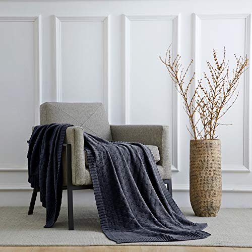 Longhui Bedding Navy Blue Cotton Knit Throw Blanket For Couch Sofa Bed Home Decorative Soft Cozy Sweater Woven Fall Cable Oversize Knitted Blankets 34 Pounds 60 X 80 Inch 0 5