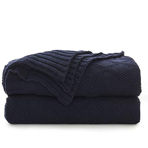 Longhui Bedding Navy Blue Cotton Knit Throw Blanket For Couch Sofa Bed Home Decorative Soft Cozy Sweater Woven Fall Cable Oversize Knitted Blankets 34 Pounds 60 X 80 Inch 0
