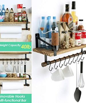 Love KANKEI Floating Shelf Wall Shelf For Storage Rustic Wood Kitchen Spice Rack With Towel Bar And 8 Removable Hooks For Organize Cooking Utensils Or Mugs Carbonized Black 0 2 300x360