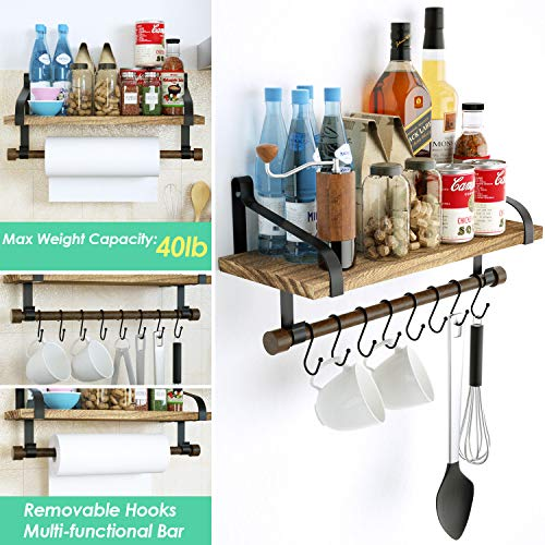 Love KANKEI Floating Shelf Wall Shelf For Storage Rustic Wood Kitchen Spice Rack With Towel Bar And 8 Removable Hooks For Organize Cooking Utensils Or Mugs Carbonized Black 0 2