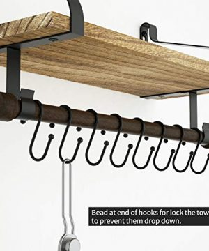 Love KANKEI Floating Shelf Wall Shelf For Storage Rustic Wood Kitchen Spice Rack With Towel Bar And 8 Removable Hooks For Organize Cooking Utensils Or Mugs Carbonized Black 0 3 300x360