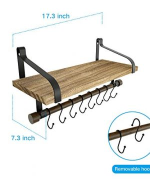 Love KANKEI Floating Shelf Wall Shelf For Storage Rustic Wood Kitchen Spice Rack With Towel Bar And 8 Removable Hooks For Organize Cooking Utensils Or Mugs Carbonized Black 0 4 300x360