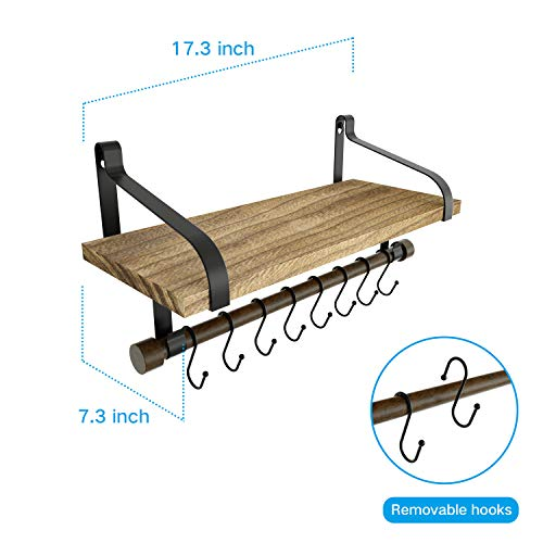 Love KANKEI Floating Shelf Wall Shelf For Storage Rustic Wood Kitchen Spice Rack With Towel Bar And 8 Removable Hooks For Organize Cooking Utensils Or Mugs Carbonized Black 0 4