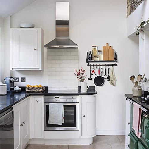 Love KANKEI Pot Rack Wall Mounted Pan Pot Organizer Wall Shelf With Towel Bar And 8 Hooks For Kitchen Cookware Utensils Organization Black 0 1