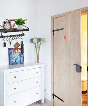 Love KANKEI Pot Rack Wall Mounted Pan Pot Organizer Wall Shelf With Towel Bar And 8 Hooks For Kitchen Cookware Utensils Organization Black 0 2 300x360