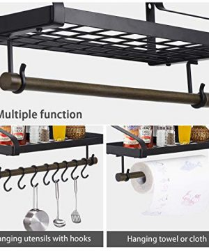 Love KANKEI Pot Rack Wall Mounted Pan Pot Organizer Wall Shelf With Towel Bar And 8 Hooks For Kitchen Cookware Utensils Organization Black 0 4 300x360