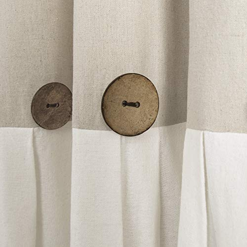 Lush Decor Button Window Curtain Single Panel 84 X 40 Linen 84x 40 0 0