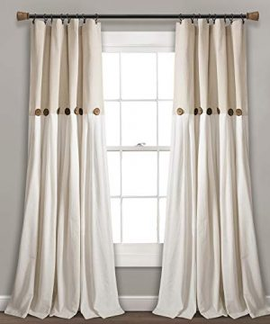 Lush Decor Button Window Curtain Single Panel 84 X 40 Linen 84x 40 0 300x360