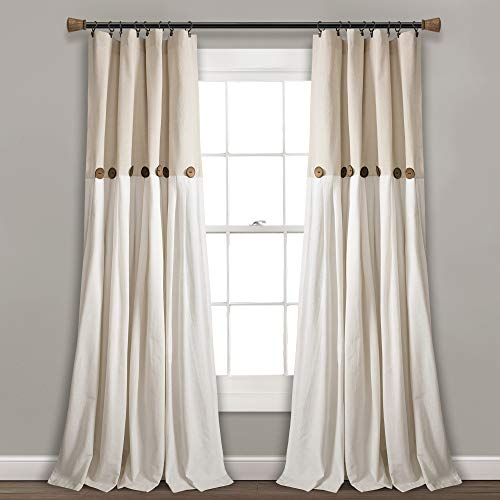 Lush Decor Button Window Curtain Single Panel 84 X 40 Linen 84x 40 0