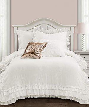 Lush Decor Ella Shabby Chic Ruffle Lace 2 Piece Comforter Set Twin XL White 0 300x360