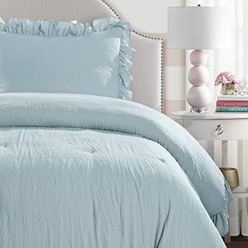 Lush Decor Lake Blue Reyna Comforter Ruffled 2 Piece Set With Pillow Sham Twin XL Size Bedding 0 0