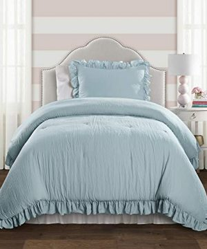 Lush Decor Lake Blue Reyna Comforter Ruffled 2 Piece Set With Pillow Sham Twin XL Size Bedding 0 300x360