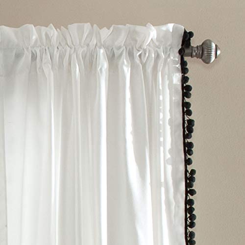 Lush Decor Pom Curtain Textured Solid Color Shabby Chic Style Window Panel Drape For Living Dining Room Bedroom Single 84 X 50 84 X 50 Black And White 0 0