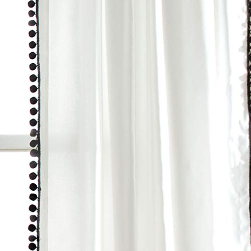 Lush Decor Pom Curtain Textured Solid Color Shabby Chic Style Window Panel Drape For Living Dining Room Bedroom Single 84 X 50 84 X 50 Black And White 0 1