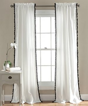 Lush Decor Pom Curtain Textured Solid Color Shabby Chic Style Window Panel Drape For Living Dining Room Bedroom Single 84 X 50 84 X 50 Black And White 0 300x360