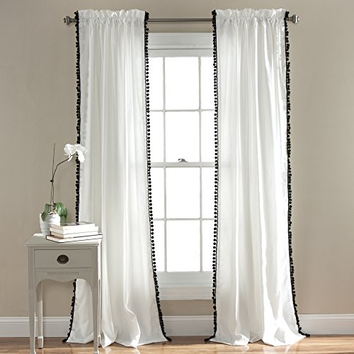 Lush Decor Pom Curtain Textured Solid Color Shabby Chic Style Window Panel Drape For Living Dining Room Bedroom Single 84 X 50 84 X 50 Black And White 0